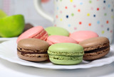 Mix of multicolored French macarons