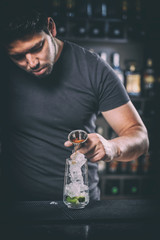Barman prepares a cocktail