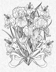 coloring page with various flowers and a ribbon