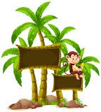 Sign template with monkey and trees