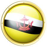 Brunei flag on round badge
