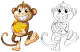 Animal outline for monkey with bananas