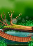 River scene with wooden bridge