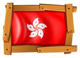 HongKong flag in wooden frame