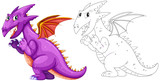 Animal outline for dragon with wings