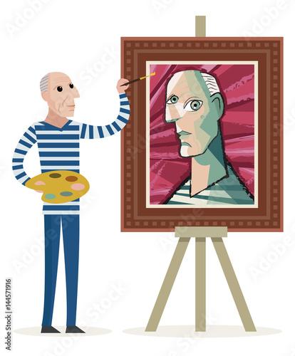 bald old man painting a cubist cubism portrait © matiasdelcarmine
