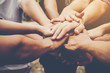 Business teamwork join hands together. Business teamwork concept