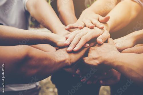 Business teamwork join hands together. Business teamwork concept