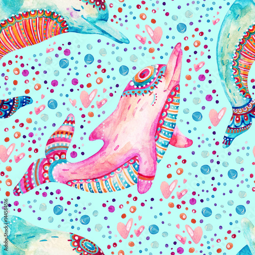 Cotton fabric Watercolor lovely dolphins seamless pattern on background with bubbles.