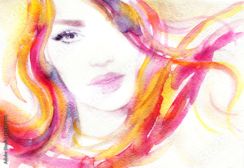Woman face. Fashion illustration. Watercolor painting © Anna Ismagilova