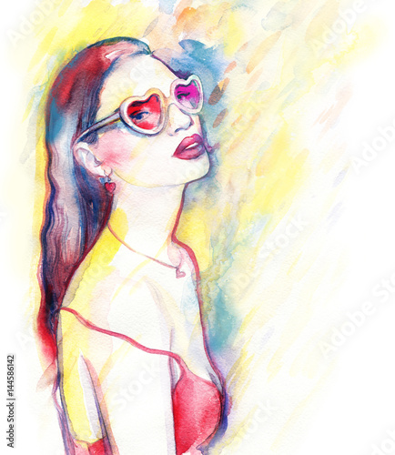 Woman with sunglasses. Fashion illustration. Watercolor painting