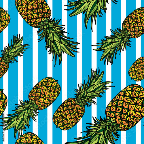 Seamless pattern with pineapples and blue stripes on white background. Vector illustration. - 144588171