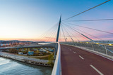 Pescara, Italy - The Ponte del Mare bridge at the dusk, in the canal and port of Pescara city, Abruzzo region
