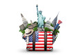 USA, vintage suitcase with American flag and landmarks