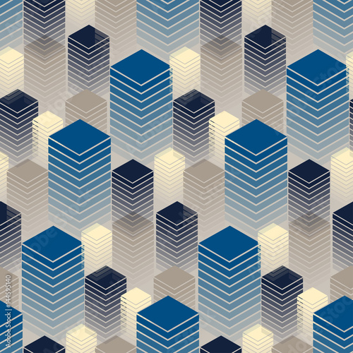 Fototapeta seamless with rows of buildings in blue and ivory