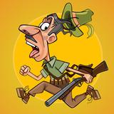 funny cartoon hunter with gun runs away in fright - 144605372