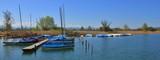 Idyllic scene at lake Pfaffikon. Sailing boats on the shore of lake Pfaffikon. Spring day in Auslikon.