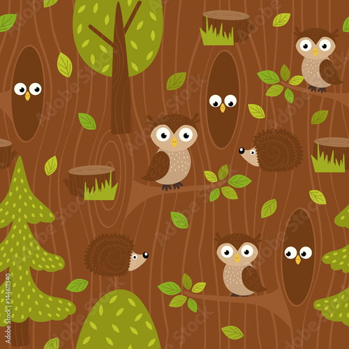 Cotton fabric seamless pattern owl and hedgehog in forest - vector illustration, eps