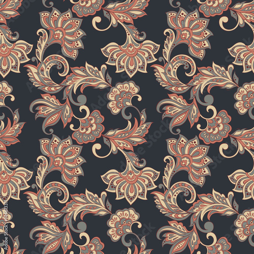 ethnic flowers seamless vector pattern. floral vintage background - 144613311