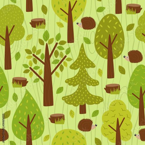 Materiał do szycia wzór z Jeż w lesie - ilustracja wektorowa eps