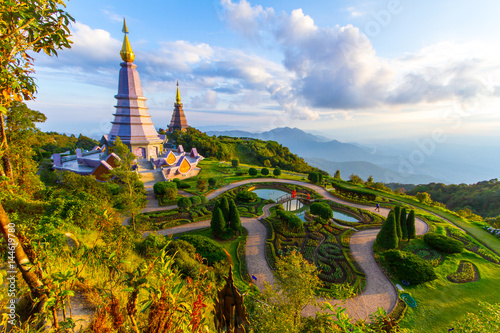 Poster Pagodas for Thailand's King and Queen on Doi Inthanon National Park in Chiang Ma