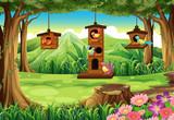 Park scene with birds in birdhouse