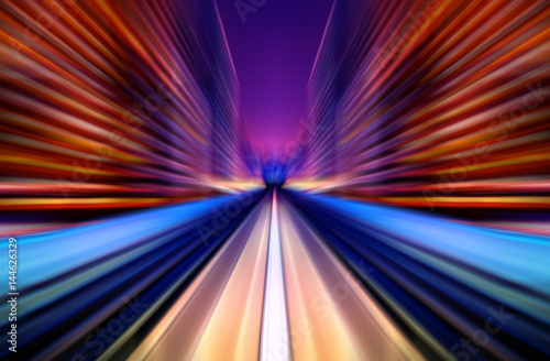 In de dag Tunnel Motion blur future vehicle moving in city road or rail.