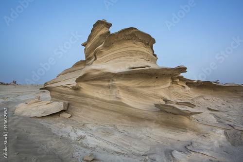 Aluminium Abu Dhabi sand formations in a desert near Abu Dhabi