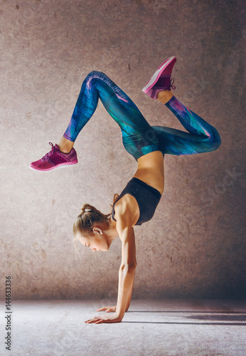 Woman is doing exercise.