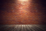 Empty old grungy room with red brick wall and wooden floor. 3d rendering illustration - 144646333