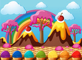 Candy land with chocolate mountains and icecream field