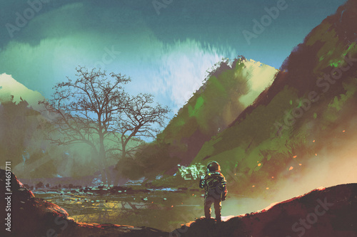 Plakat sic-fi concept of the astronaut exploring living things on the planet, illustration painting