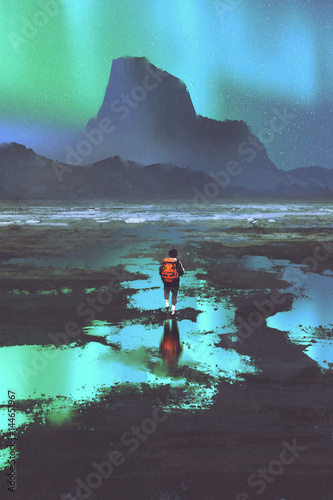 night scenery of hiker with backpack looking at mountains and colorful light in the sky, illustration painting © grandfailure