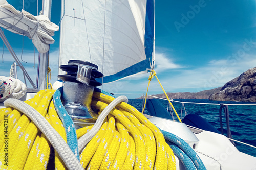 Winch and ropes on a sailboat