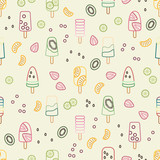 Ice cream seamless pattern, colorful summer background - 144677729
