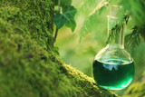 herbal potion On a mossy tree .Spell potion .  Herbal elixir. Magic Potion. Homeopathic medicine. Organic Cosmetics Concept - 144678564