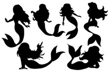 Silhouette Of A Mermaid   Illustration Sticker