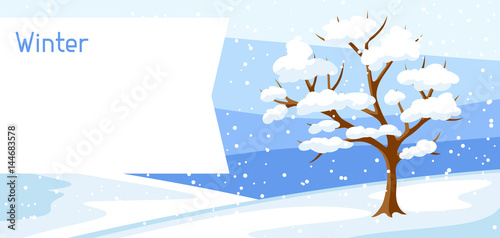 Winter landscape with tree and snow. Seasonal illustration
