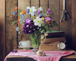 country still life with bouquet and old things