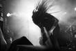 Metal singer headbanging