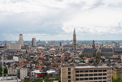 Foto op Canvas Antwerpen Aerial view of Antwerp in the harbor of Antwerp, Belgium