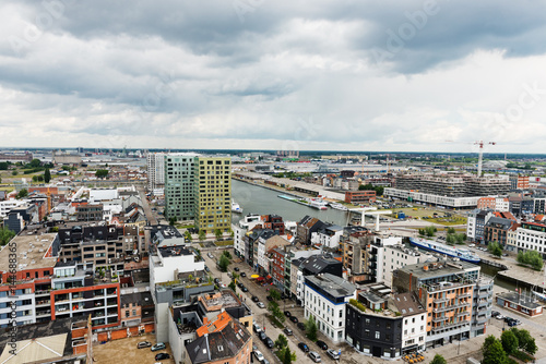 Foto op Plexiglas Antwerpen Aerial view of Antwerp in the harbor of Antwerp, Belgium