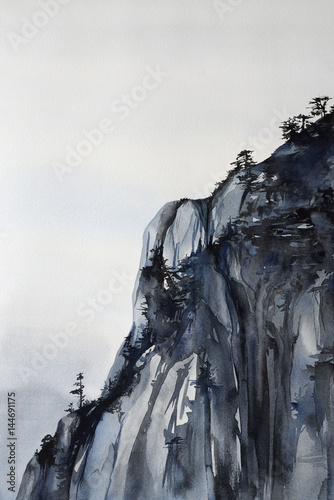 Mountain cliff with pine trees - watercolor painting natural landscape with detailed paper texture - 144691175