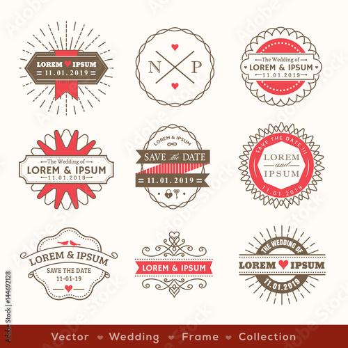 retro modern hipster wedding logo frame badge design element