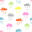 Seamless colorful watercolor clouds pattern. Rain of hearts. Vector illustration.