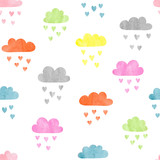 Fototapety Seamless colorful watercolor clouds pattern. Rain of hearts. Vector illustration.