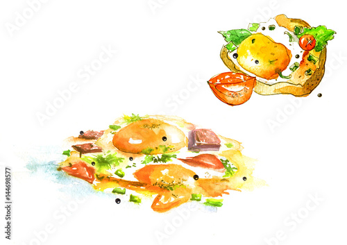 Set of two watercolor pictures - a dish of fried eggs, an omelette, bacon, tomato, onions and a sandwich with salad, yolk, spices. On white isolated background.