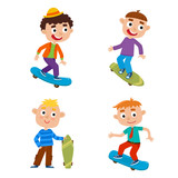 Vector illustration of boys on skateboard in isolated on white