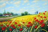 Oil paintings, canvas, village in Ukraine. Landscape.