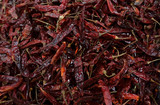 Dried hot pepper. Background and texture of dried hot pepper.